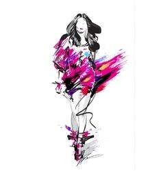 Fashion model sketch vector image vector image