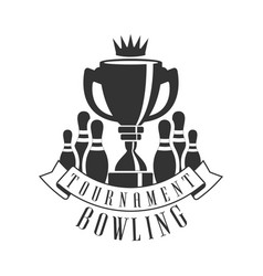 tournament bowling vintage label black and white vector image vector image