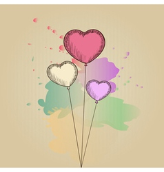 Card with hand-drawn heart-shaped balloons vector image