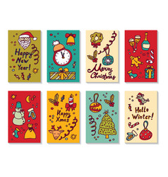 new year christmas greeting cards set vector image