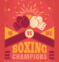vintage poster for a boxing vector image vector image