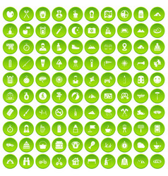 100 family camping icons set green circle vector