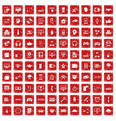 100 programmer icons set grunge red vector