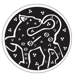 A druidic astronomical symbol of a panther vector