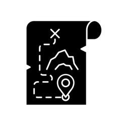 Adventure film black glyph icon popular movie vector