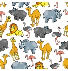 African jungle and safari animals cartoon pattern vector