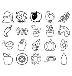 Agricultural Outline Set vector image