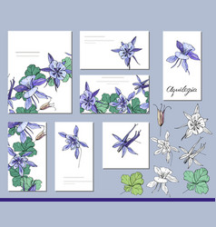 Aquilegia set with visitcards and greeting vector