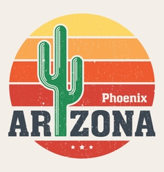 arizona t shirt with styled saguaro cactus vector image