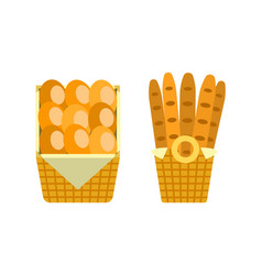 baguettes and buns in wooden basket bakery vector image