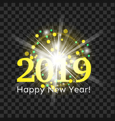 beautiful yellow flash greetings happy new year vector image