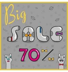 Big Sale seventy percents Artistic font vector