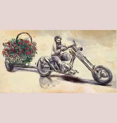 biker love maker an hand drawn vector image