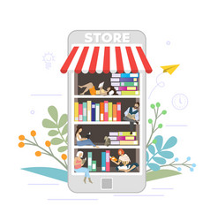 bookstore online concept flat style design vector image