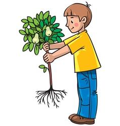Boy gardener vector