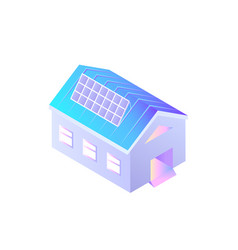 building with solar batteries on roof installed vector image