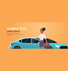 Businesswoman standing near luxury car african vector