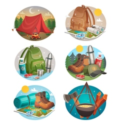 Camping Round Compositions Set vector