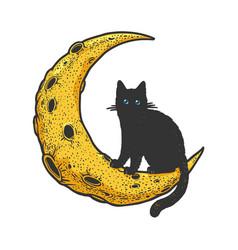 cartoon cat on moon sketch vector image