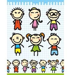 cartoon doodle kids vector image