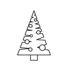 Christmas tree with toys icon outline style vector image