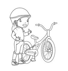 coloring book girl with bicycle vector image