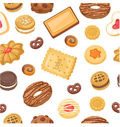 cookies seamless pattern different chocolate vector image