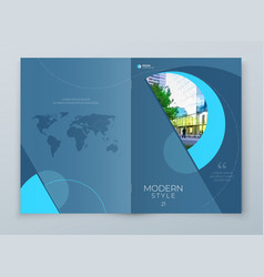 Cover with minimal cyan blue geometric design vector
