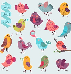Cute cartoon birds set vector