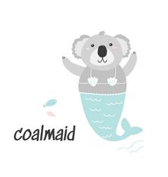 Cute little coala mermaid cartoon vector