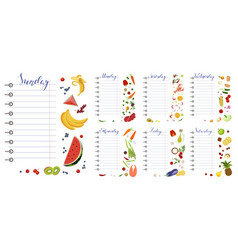 daily food diary with healthy food vector image