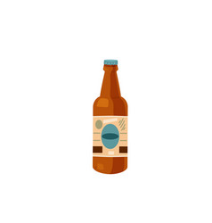delicious beer bottle with label isolated on white vector image