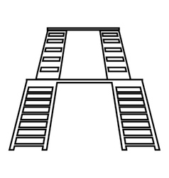 Double ladders icon outline style vector image