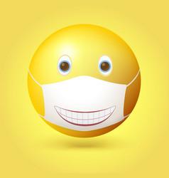 emoji emoticon with medical mask on face smiling vector image