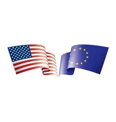 european union and american flags vector image