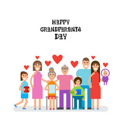 Family together happy grandparents day greeting vector