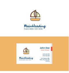 flat boat logo and visiting card template vector image