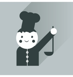 Flat icon with long shadow cook with ladle vector