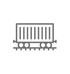 Freight car on rails cargo wagon train line icon vector