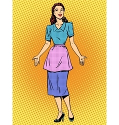 Friendly housewife beautiful woman retro style pop vector