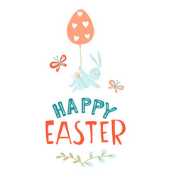 funny cute colorful greeting happy easter card vector image