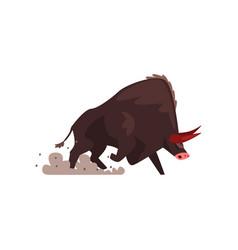 Furious black bull bullfighting corrida vector