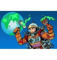 green Earth ecology astronaut vector image