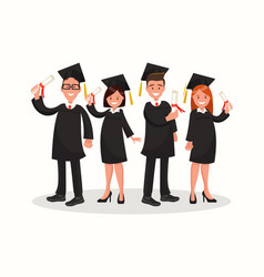 Group of university graduates in black gowns vector