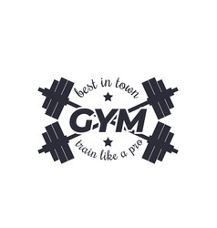 Gym logo with barbells vector