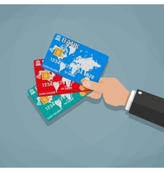 Hands holding bank cards vector image