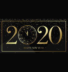 happy new year 2020 background with gold clock vector image