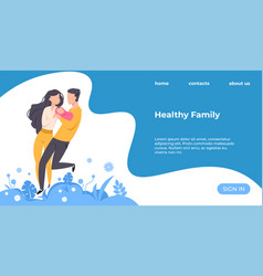healthy family landing page couple with newborn vector image