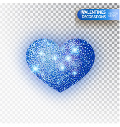 heart blue glitter isoleted on transparent vector image