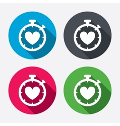 Heart Timer sign icon Stopwatch symbol vector